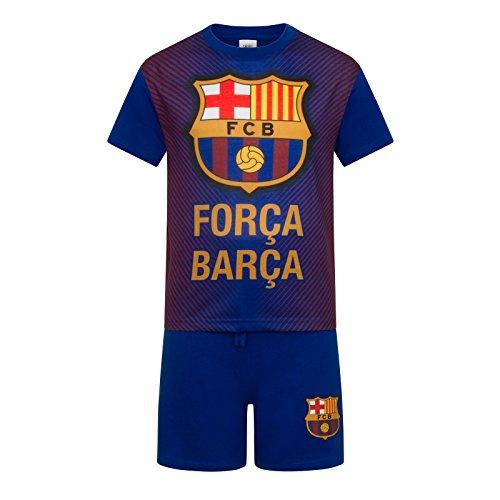 FC Barcelona - Kinder Schlafanzug-Shorty - Offizielles Merchandise - Geschenk für Fußballfans - Blau - 6-7Jahre