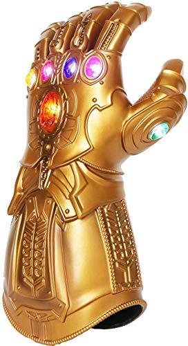 Iron Man Infinity Gauntlet para niños con 2 pilas recambio, Iron Man Glove LED con piedras para niños 0-12