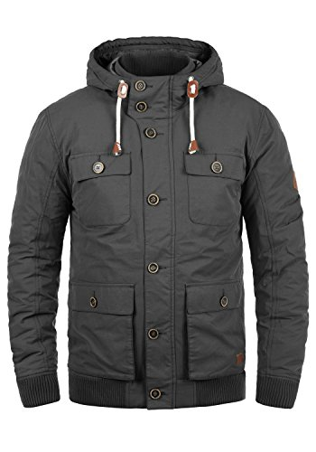 Blend Ciro Herren Übergangsjacke Herrenjacke Jacke mit Kapuze, Größe:M, Farbe:Ebony Grey (75111)