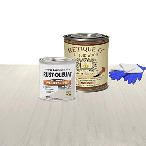 Retique It Liquid Wood - Pint Light Wood with Antique White Stain - Stainable Wood Fiber Paint - Put a fresh coat of wood on it (16oz LW Ant White)