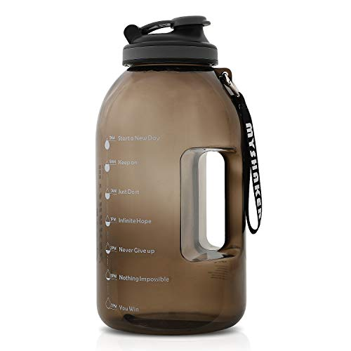 MYSHAKER 1 Gallon Water Bottle with Wide Mouth, Handle/Strap and Motivational Time Marker Reminder BPA Free Lightweight Reusable Drinking Wide Mouth Large Capacity Water Jug for Outdoor Sports Gym Hiking Fitness