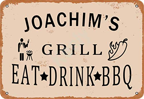 Keely Joachim'S Grill Eat Drink BBQ Metall Vintage Blechschild Wanddekoration 12x8 Zoll für Café, Bar, Restaurant, Pubs, Männerhöhle, Dekorativ