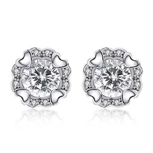 WLLLTY Pendientes Mujer, Pendientes Redondos de Plata de Ley 925 con Diamantes de Moissanite, Pendientes de Moda de Compromiso