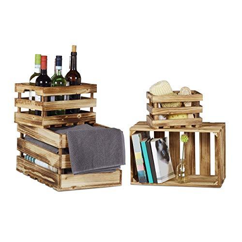 Relaxdays Vintage Houten kist, 4-delige set, gevlamd, shabby chic, oude used look, 4 maten, wijnkist, fruitkist, natuur