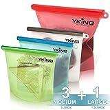 Reusable Sandwich Bags 4 pcs - 3 Medium/ 1 Large - Silicone Reusable...