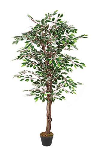 Konstväxt BENJAMINI i blomkruka – 160 cm – dekoration växt inomhusväxt artificiellt konstträd