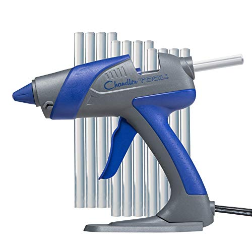 Chandler Tool Hot Glue Gun - 60 Watt Full Size Heavy Duty High Temp Industrial Hot Melt Glue Gun Kit with 10 Pcs Glue Sticks, Patented Base Stand &, for Arts & Crafts & DIY (Blue)