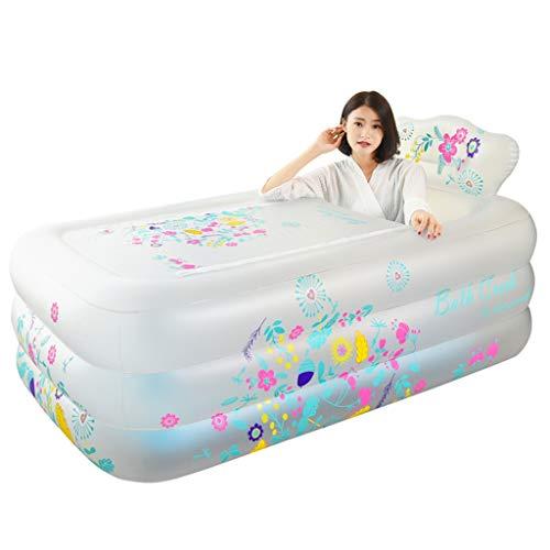 Baignoire Gonflable, Blanc 158CM * 88CM * 50CM Se Pliant Adulte de Bassin de baignade de Baignoire en Plastique d'artéfact en Plastique