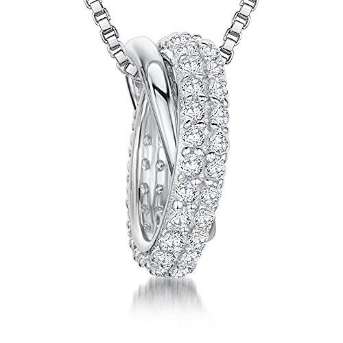 JOOLS van Jenny Brown ® Zilveren hanger met verwisselbare ringen van zilver, een Pave Set met CZ stenen