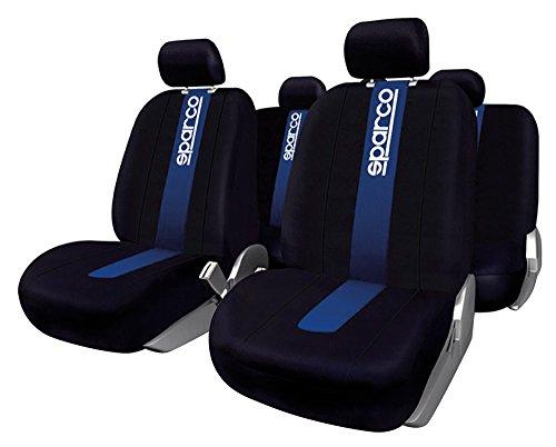 Sparco SPC1011 Juego de fundas para asientos de coche, color negro y azul, modelo CLASSIC, 11 Piezas
