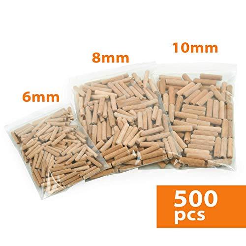 Holzdübel Set | Riffelholzdübel 500er Packung | Dübel aus Buche | Ideal geeignet für Dübelfräse Lamellofräse Meisterdübler (Set 6 8 10 mm)