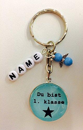 Buntermix Handgemachter Cabochon Schlüsselanhänger für den Schulstart, du bist 1. klasse, Geschenk für Schulanfänger, mit Schutzengel und individualisierbar (blau mit Name)