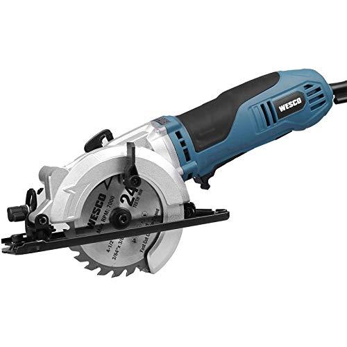 "Mini Circular Saw, WESCO 4-1/2"" 5200 RPM Compact Circular Saw Max. Cutting Depth 1-11/16""(90°), 1-1/8""(45°)with 3 Blades for Wood, Plastic and Metal /WS3454U"