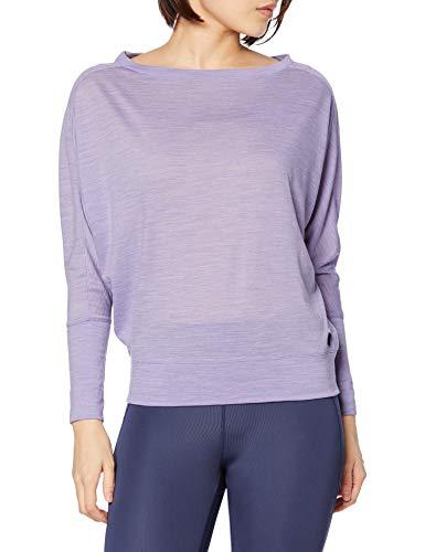 super.natural Leichtes Damen Langarm Yoga-Shirt, Mit Merinowolle, W KULA TOP, Größe: XL, Farbe: Lila meliert
