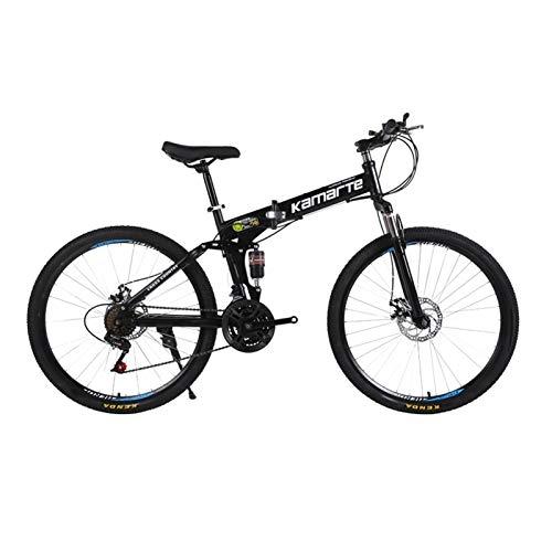 BLTR Conveniente 21 Velocidad Bicicleta de montaña Barato Adulto con Radio Rueda de montaña Bicicleta Plegable Bicicleta de montaña 24/26 Pulgadas Bicicleta (Color : 26 Inch Black)