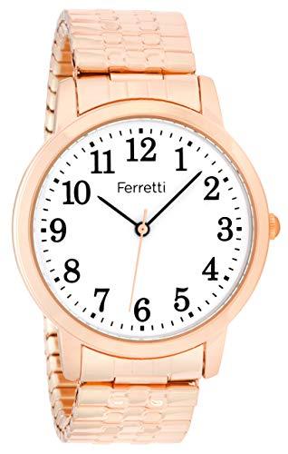 Ferretti Unisex | Orologio da polso classico d'oro rosa con grandi numeri e espansione | FT16104