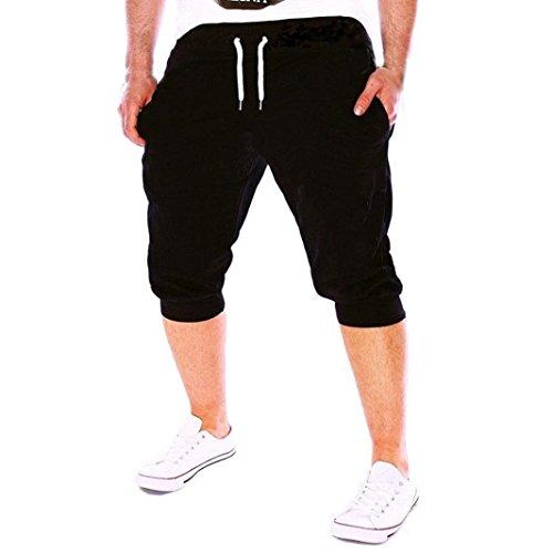 Kurze Hose Herren Sommer Fit Elastische Lässige Sportbekleidung Fitnesstraining Jogginghose GreatestPAK ,Schwarz,XL