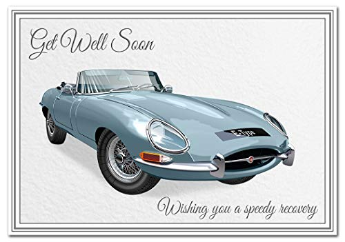 Get Well Soon Card for Men - Car Lover Greetings Him - Wishes Speedy Recovery Feel Better - Illness Sick Home Confinement Hospital - Blank Inside to Write Special Message - Dad Husband Grandad Boys