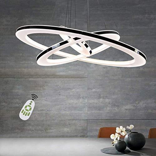 ZQQ Lámpara Colgante LED para Sala De Estar Araña De Techo/Luces para Mesa De Comedor Lámpara De Araña De 3 Anillos Regulable con Control Remoto para Dormitorio Altura Iluminación De Techo,20+40+60cm
