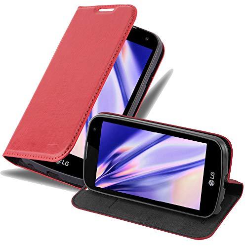 Cadorabo Hülle für LG K3 2016 - Hülle in Apfel ROT – Handyhülle mit Magnetverschluss, Standfunktion & Kartenfach - Hülle Cover Schutzhülle Etui Tasche Book Klapp Style