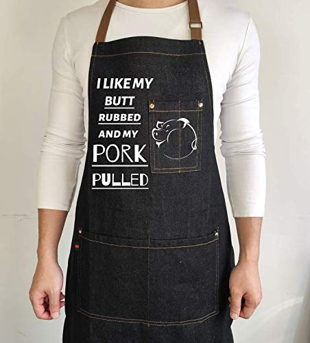 Denim Cooking Chef Funny Aprons for Dad-The Grill Father-Designed for Kitchen BBQ,Grill,Baking Men Aprons With 3 Pockets