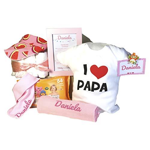 Cesta Bebe Amazon.Mabybox Happy Daddy Regalo Bebe Recien Nacido Canastilla Original Para Bebe Cesta Bebe Personalizada Rosa 3 6 Meses