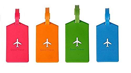 NOVAGO Set di 4 Etichette per valigie , Etichetta da viaggio in plastica flessibile, scrivibile (Rettangolare)