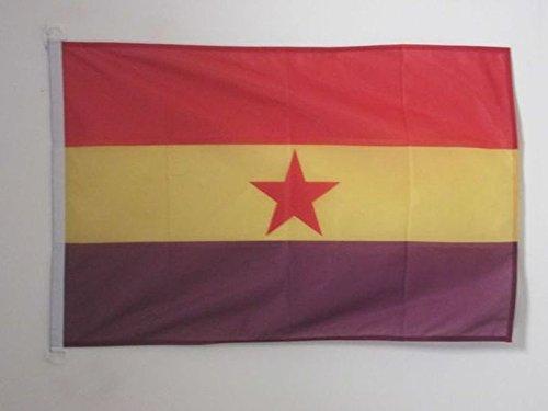 AZ FLAG Bandera ESPAÑA Republicana Estrella ROJA 90x60cm Uso Exterior - Bandera DE LA Republica ESPAÑOLA 60 x 90 cm Anillos