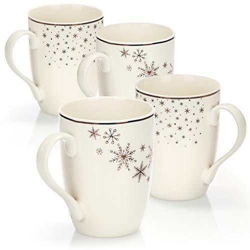 COM-FOUR® Taza de café de porcelana 4x - Taza de café para Navidad - Cafetera para bebidas frías y calientes - 360 ml (04 piezas - color oro blanco)
