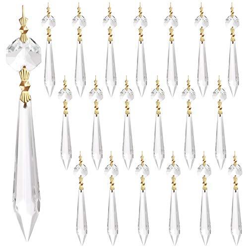Belle Vous Kristallglas Prisma Eiszapfen Anhänger Transparent (20 Stk) - 11,5cm Hängende Dekoration Perlen zum Aufhängen für Kronleuchter, Lichtbrecher, DIY Sonnenfänger, Deko Hochzeit, Weihnachtsdeko