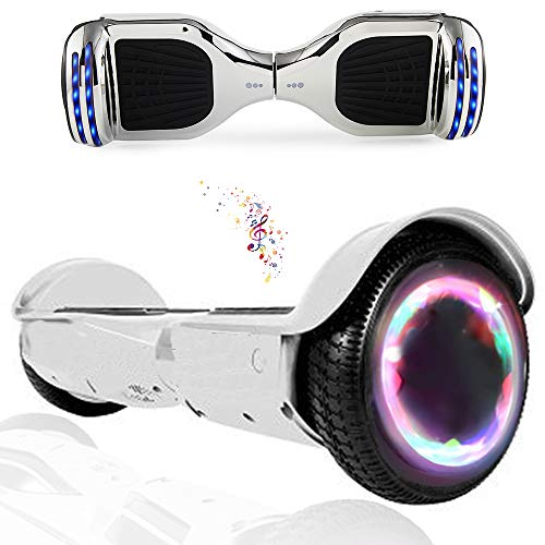 """Wind Way Hoverboard 6,5"""" - Moteur 700W - Parleur Bluetooth - Self Balancing Scooter Tout Terrain Adulte - Skateboard LED - Gyropode Bonne Qualité - Enfant SmartBoard Pas Cher - Argent Chromé"""