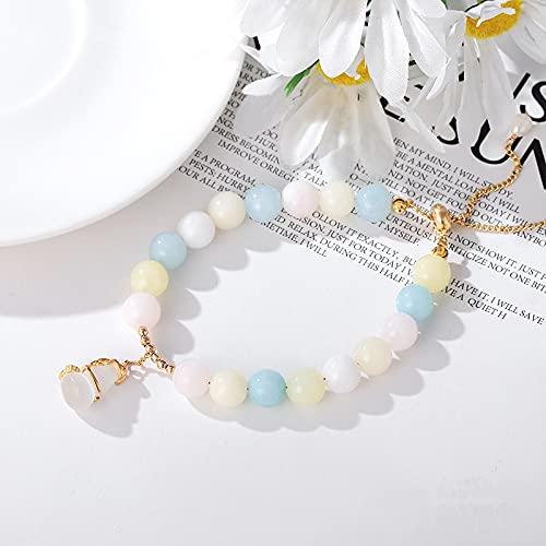 JIUXIAO Pulseras de Perlas de Agua Dulce con Piedras de morganita Naturales para Mujeres, Hombres, Pareja, Colgante de Calabaza, Pulsera, joyería de Moda Ybr321
