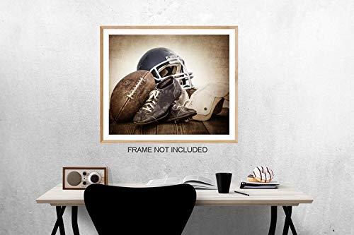 Vintage Football Gear on Vintage Background Fine Art Photography Print, Sports Decor, Football Nursery decor, Vintage Sports Nursery Art, Football artwork, Kids Room Wall Art.