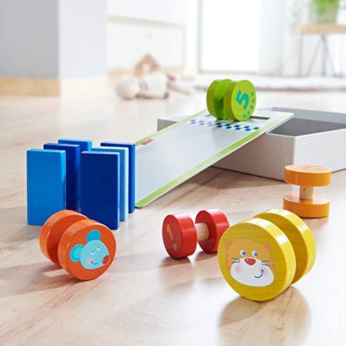 Haba 304354 - motorisch spel gazons snijden, leerspel van hout vanaf 18 maanden, met oprijplaat en Domino-stenen, geanimeerd voor het leren van de cijfers van 1 tot 5