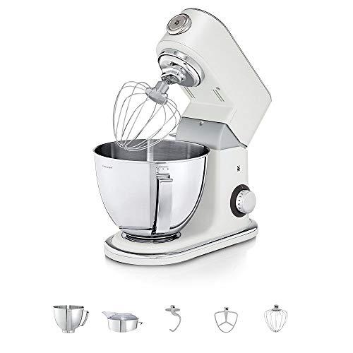 WMF Profi Plus Küchenmaschine mit 5l-Schüssel, Softanlauf, Planeten-Rührwerk, 8-stufige Knetmaschine, 3 Rührwerkzeuge, 1000W, edelstahl matt, metal white