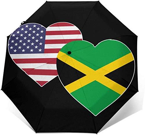 Paraguas automático con diseño de bandera jamaicana de Estados Unidos, con diseño de corazón de tres pliegues