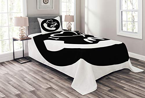 ABAKUHAUS Ruf Mama Tagesdecke Set, Familienwerte Themen Telefon, Set mit Kissenbezügen Ohne verblassen, für Einselbetten 170 x 220 cm, Schwarz und weiß