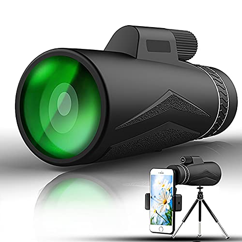 Starscope Monokular-Teleskop (Gen 1) 12x50 für Smartphone, 12× Zoom hochauflösende Sicht-Optik BAK4 Kristallprisma | Eingebauter Kompass für alle Outdoor-Aktivitäten,Schwarz