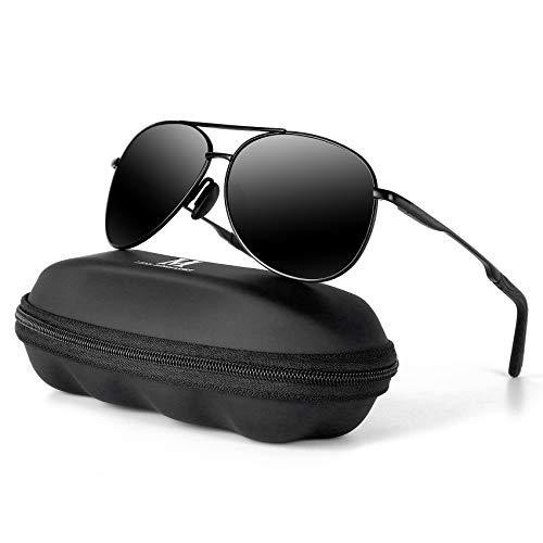 MXNXEU Sonnenbrille Herren Pilotenbrille Polarisiert Pilotenbrille Polarisierte Sonnenbrille Herren Outdoor Pilot Unisex UV400 Fahren Sonnenbrille-Schwarz/Schwarz
