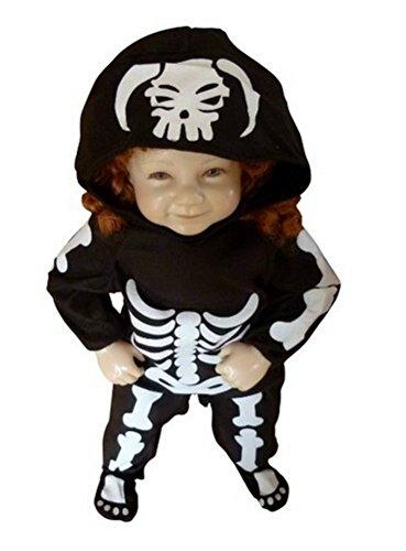 Ikumaal F70 Gr. 92-98 Skelett-Kostüm Kind-er für Halloween, Jung-e u. Mädchen Fasching-skostüm, Karnevals-Kostüme
