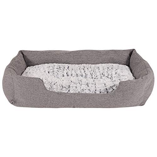 dibea Hundebett Hundekissen Hundekörbchen mit Wendekissen meliert Größe (L) 110x80 cm Grau