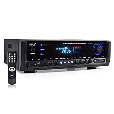 Wireless Bluetooth Power Amplifier System 300W 4 Channel Home Theater Audio Stereo Sound Receiver Box Entertainment w/ USB, RCA, 3.5mm AUX, LED, Remote for Speaker, PA, Studio-Pyle PT390BTU,BLACK