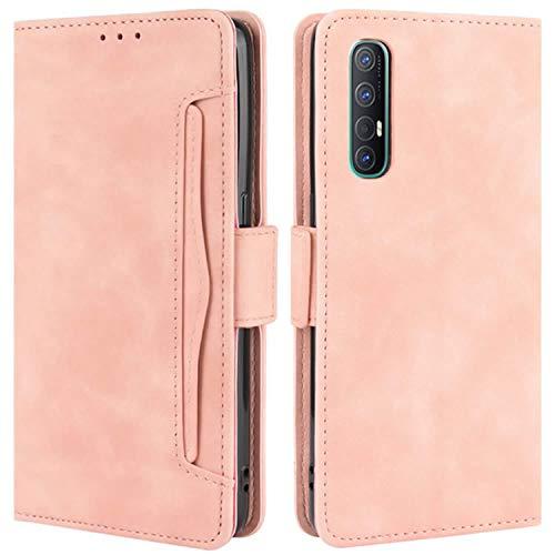HualuBro Handyhülle für Oppo Find X2 Neo Hülle Leder, Flip Hülle Cover Stoßfest Klapphülle Handytasche Schutzhülle für Oppo Find X2 Neo Tasche (Pink)