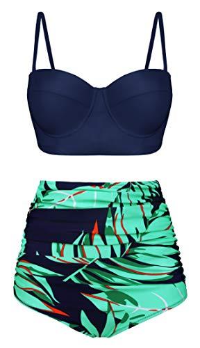 Angerella Vintage Neckholder Hohe Taille Ruched Blatt drucken Bikini Set Badeanzug