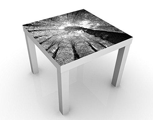 Apalis Design Tisch Bäume des Lebens II 55x55x45cm Beistelltisch Couchtisch, Tischfarbe:Weiss;Größe:55 x 55 x 45cm