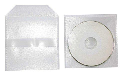 100 Mini CD Hüllen zum Einkleben Stabile PP Folienhüllen 120my Transparent mit Klappe und 1 Selbstklebende Streifen Rückseitig für 8cm Mini CD/DVD