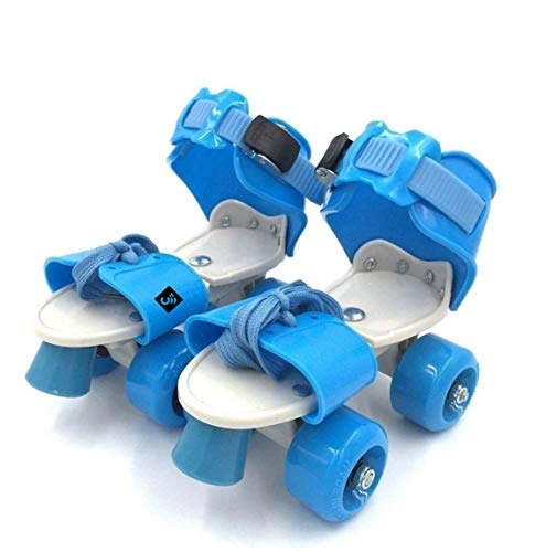 WON Roller Skates for Kids Age 5-10 Years Adjustable 4 Wheel Skating Shoes Very Smooth (Blue )
