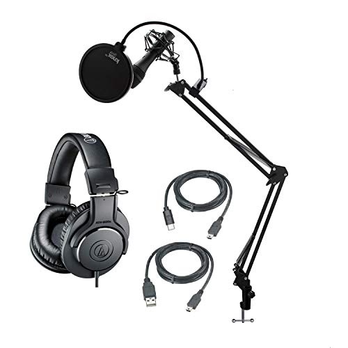 Audio-Technica AT2005 USB Cardioid Dynamic Microphone with Audio Technica ATH-M20X Headphones, Knox Gear Studio Stand Shock Mount and Pop Filter Bundle (5 Items)