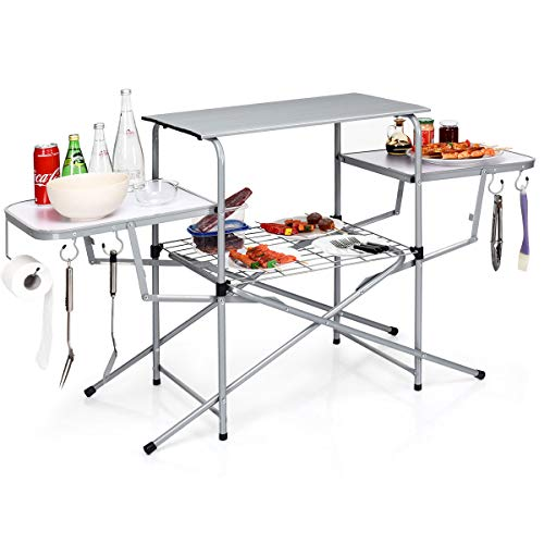 GYMAX Aluminum Folding Camping Table, Outdoor Grill Table with Side Table, Hooks & Carry Bag, Heavy...