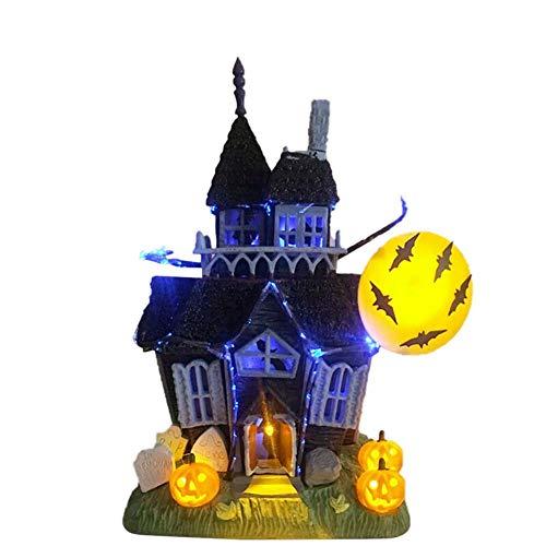 Décorations dHalloween - Accessoires dHalloween, château de maison hantée effrayant avec lumières clignotantes - Capteur de mouvement sonore pour Halloween